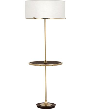 Shown in Polished Brass With Dark Walnuted Wood Accent finish and Cream Brussels Linen With Self Fabric Top Diffuser shade