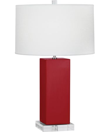 Shown in Polished Nickel-Ruby Red finish and Oyster Linen shade