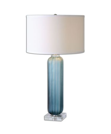 Shown in Crudely Grooved Frosted Blue With Polished Nickel Accents And Crystal finish and Crisp Off-White Linen Fabric shade