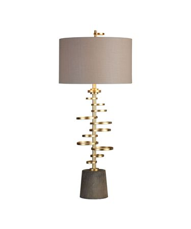 Shown in Antiqued Gold Leaf finish and Taupe Linen Fabric shade