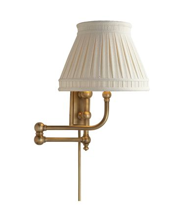 Shown in Antique-Burnished Brass finish and Linen Collar shade