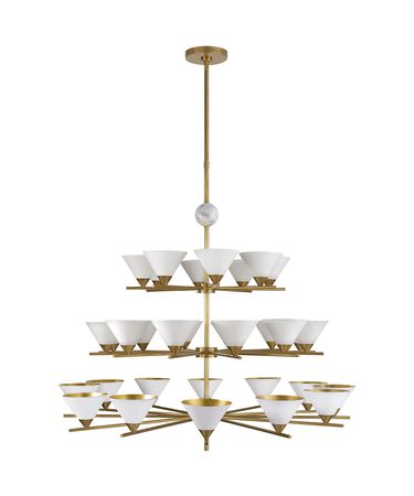 Shown in Antique-Burnished Brass and White Marble finish and Antique White Shades with Gild Interior shade