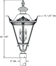 Hanover Lantern B53530 Stockholm Medium 3 Light Outdoor Post Lamp