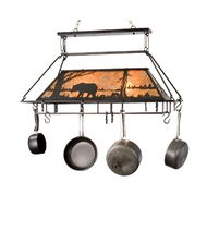 Meyda Lighting 15737 Bear at Lake 39 Inch Lighted Pot Rack